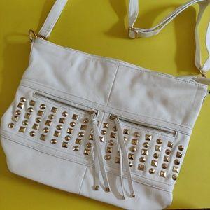 WHITE/GOLD MESSENGER SIDE BAG